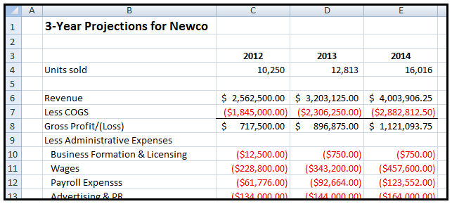 MS Excel spreadsheet showing 3-Year Projections for Newco